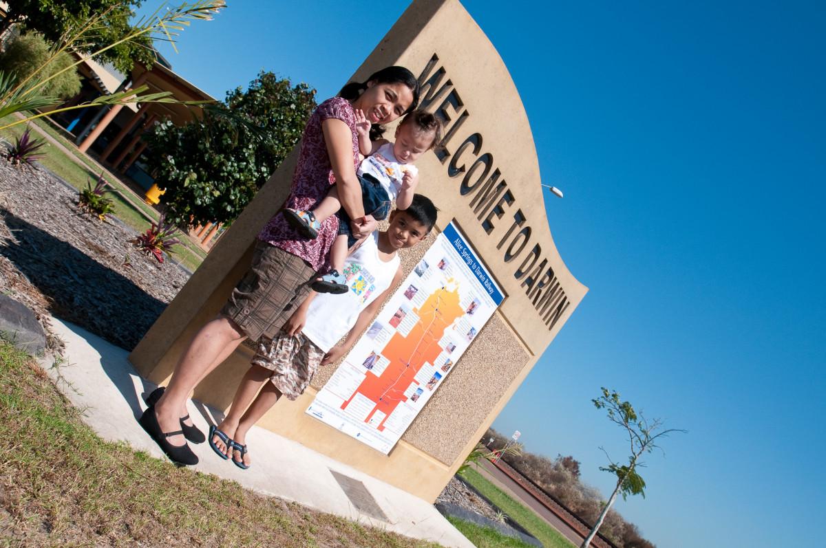 Glize, Aaron and John, Darwin train terminal, Australia