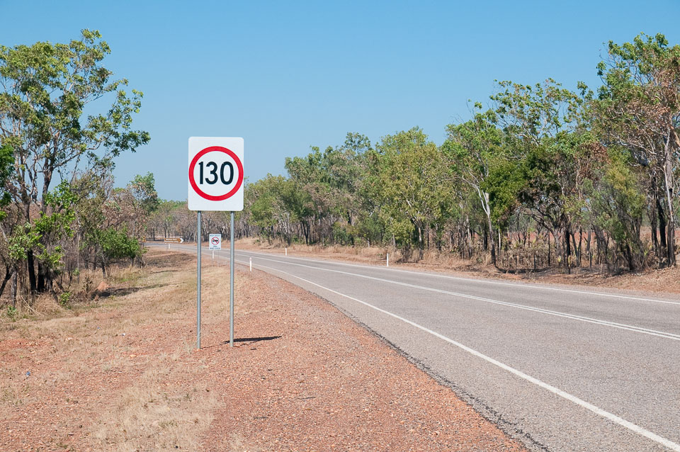 130 km/h, heading south from Darwin